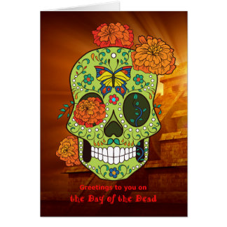 Day of the Dead Sugar Skull & Flowers with Pyramid Card