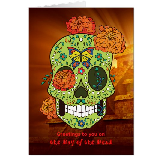 Day of the dead sugar skull flowers with pyramid card zazzle day of the dead sugar skull flowers with pyramid card m4hsunfo