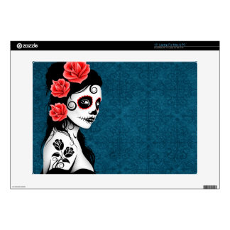 Day of the Dead Sugar Skull Girl - blue Decal For Laptop