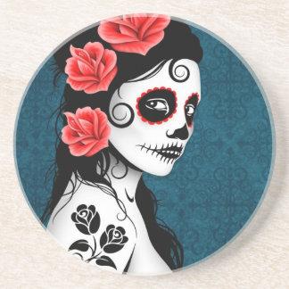 Day of the Dead Sugar Skull Girl - blue Drink Coaster