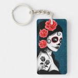 Day of the Dead Sugar Skull Girl - blue Rectangular Acrylic Keychain