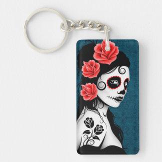 Day of the Dead Sugar Skull Girl - Blue Double-Sided Rectangular Acrylic Keychain