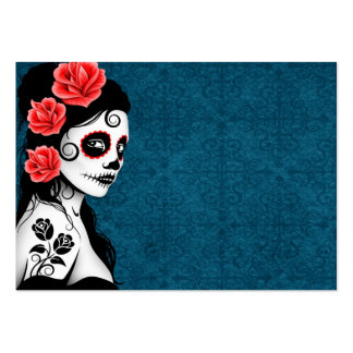 Day of the Dead Sugar Skull Girl - blue Large Business Card