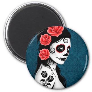 Day of the Dead Sugar Skull Girl - blue Fridge Magnets