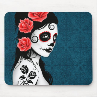 Day of the Dead Sugar Skull Girl - blue Mouse Pad