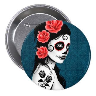 Day of the Dead Sugar Skull Girl - blue Pinback Button