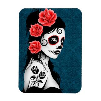 Day of the Dead Sugar Skull Girl - Blue Vinyl Magnet
