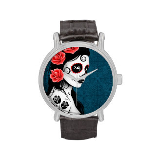 Day of the Dead Sugar Skull Girl - Blue Wrist Watch