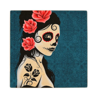 Day of the Dead Sugar Skull Girl – Blue Wooden Coaster