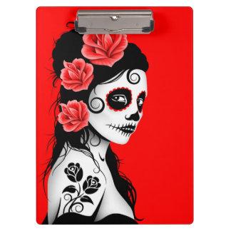 Day of the Dead Sugar Skull Girl - Bright Red Clipboard