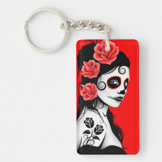 Day of the Dead Sugar Skull Girl - Bright Red Keychain