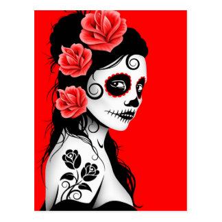 Day of the Dead Sugar Skull Girl - Bright Red Postcard