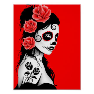 Day of the Dead Sugar Skull Girl - Bright Red Poster