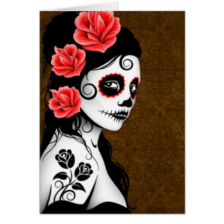 Day of the Dead Sugar Skull Girl - brown Greeting Cards