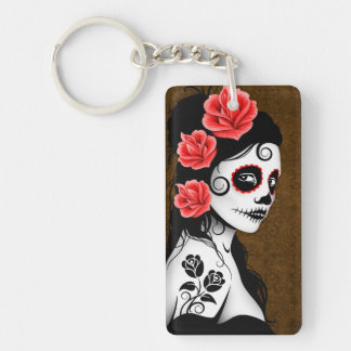 Day of the Dead Sugar Skull Girl - Brown Keychain