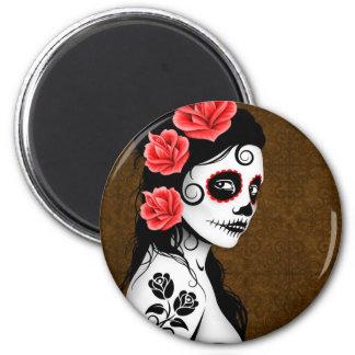Day of the Dead Sugar Skull Girl - brown Refrigerator Magnet