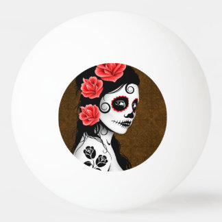 Day of the Dead Sugar Skull Girl Brown Ping Pong Ball
