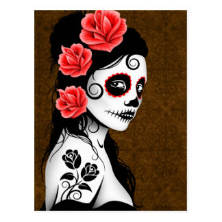 Day of the Dead Sugar Skull Girl - Brown Postcard