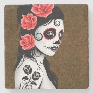 Day of the Dead Sugar Skull Girl Brown Stone Coaster