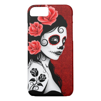 Day of the Dead Sugar Skull Girl – Deep Red iPhone 8/7 Case