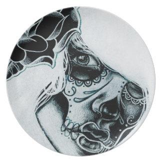 Day of the Dead Sugar Skull Girl Dusk Dinner Plate  sc 1 st  Zazzle & Tattoos Plates   Zazzle