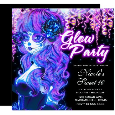 Halloween Themed Day of the Dead Sugar Skull Girl Glow Neon Party Card