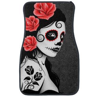 Day of the Dead Sugar Skull Girl Gray Car Floor Mat