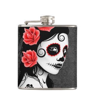 Day of the Dead Sugar Skull Girl - Gray Flask