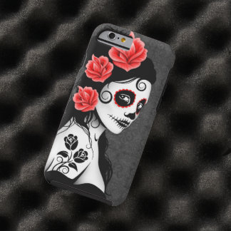 Day of the Dead Sugar Skull Girl – Gray Tough iPhone 6 Case