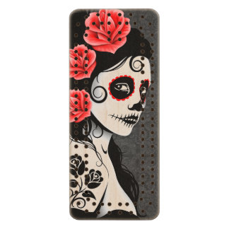 Day of the Dead Sugar Skull Girl – Gray Wood Cribbage Board
