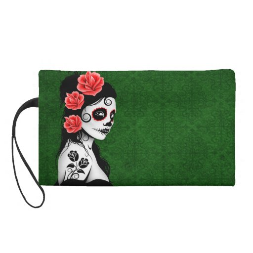 Day of the Dead Sugar Skull Girl - green Wristlet Clutch