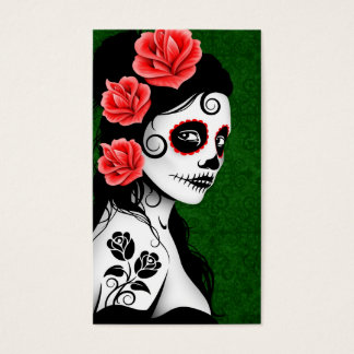 Day of the Dead Sugar Skull Girl - green Business Card