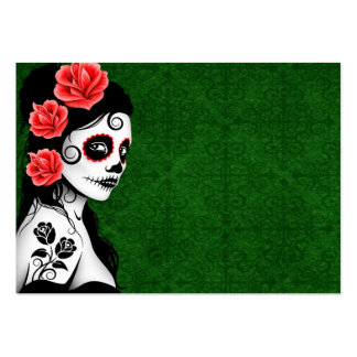 Day of the Dead Sugar Skull Girl - green Large Business Card