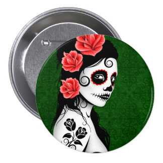 Day of the Dead Sugar Skull Girl - green Pinback Button