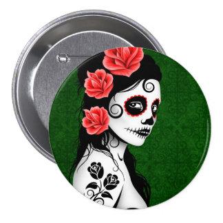 Day of the Dead Sugar Skull Girl - green Pinback Button