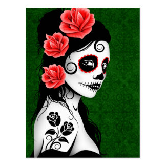 Day of the Dead Sugar Skull Girl - Green Postcards