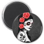 Day of the Dead Sugar Skull Girl - grey 2 Inch Round Magnet