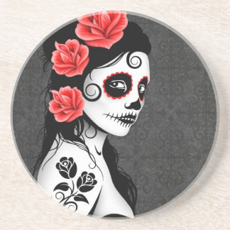 Day of the Dead Sugar Skull Girl - grey Beverage Coasters