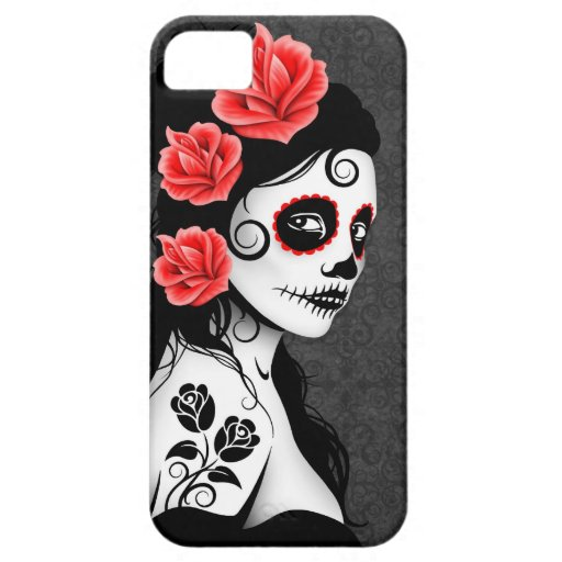 Day of the Dead Sugar Skull Girl - grey iPhone 5 Cover