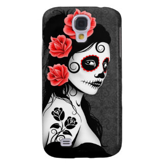 Day of the Dead Sugar Skull Girl - grey Galaxy S4 Covers