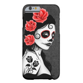 Day of the Dead Sugar Skull Girl - grey Barely There iPhone 6 Case