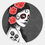 Day of the Dead Sugar Skull Girl - grey Classic Round Sticker
