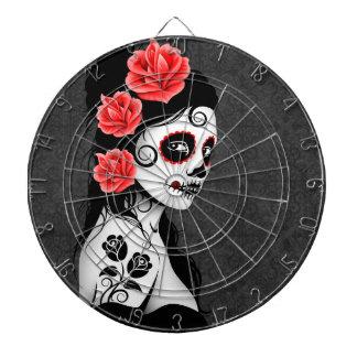 Day of the Dead Sugar Skull Girl - Grey Dart Boards