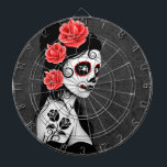 """Day of the Dead Sugar Skull Girl - Grey Dartboard<br><div class=""""desc"""">This Day of the Dead inspired design features a beautiful woman with sugar skull patterns on her face. Three roses appear in her jet black hair with two more roses tattooed on her arm. The girl is standing sideways with her head turned slightly towards the viewer. Her pure white skin...</div>"""