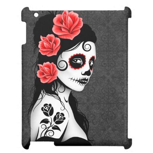 Day of the Dead Sugar Skull Girl - Grey iPad Case