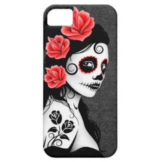 Day of the Dead Sugar Skull Girl - grey iPhone SE/5/5s Case