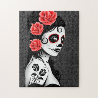 Day of the Dead Sugar Skull Girl - grey Jigsaw Puzzle