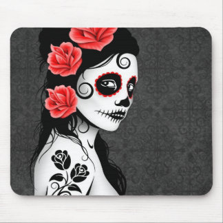Day of the Dead Sugar Skull Girl - grey Mouse Pad