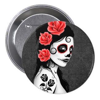 Day of the Dead Sugar Skull Girl - grey Pinback Button