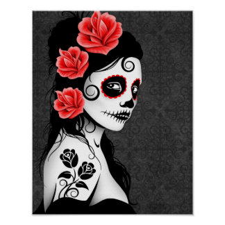 Day of the Dead Sugar Skull Girl - Grey Posters